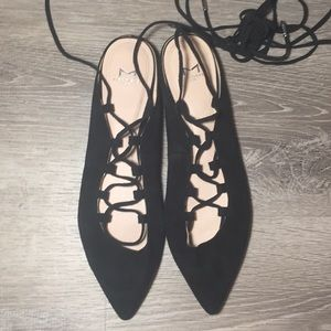 Marc Fisher Shoes - MARC FISHER SBRINA POINTY TOE LACE UP FLAT SUEDE